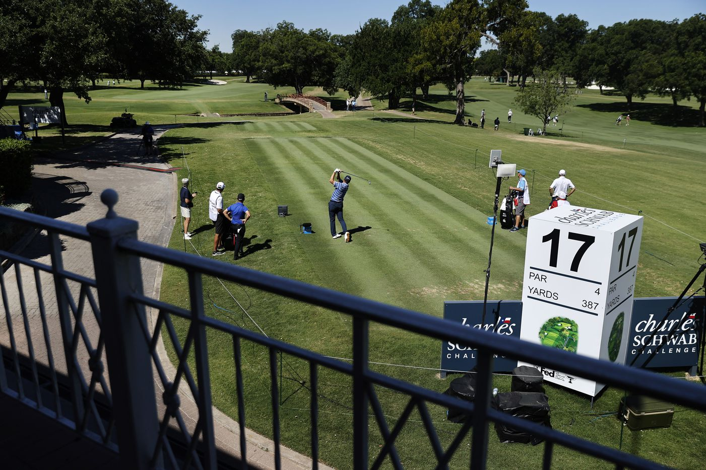 Before the absence of fans, PGA Tour golfer Ryan Palmer tees off on No. 17 during the opening round of the Charles Schwab Challenge at the Colonial Country Club in Fort Worth, Thursday, June 11, 2020.  The Challenge is the first tour event since the COVID-19 pandemic began. (Tom Fox/The Dallas Morning News)