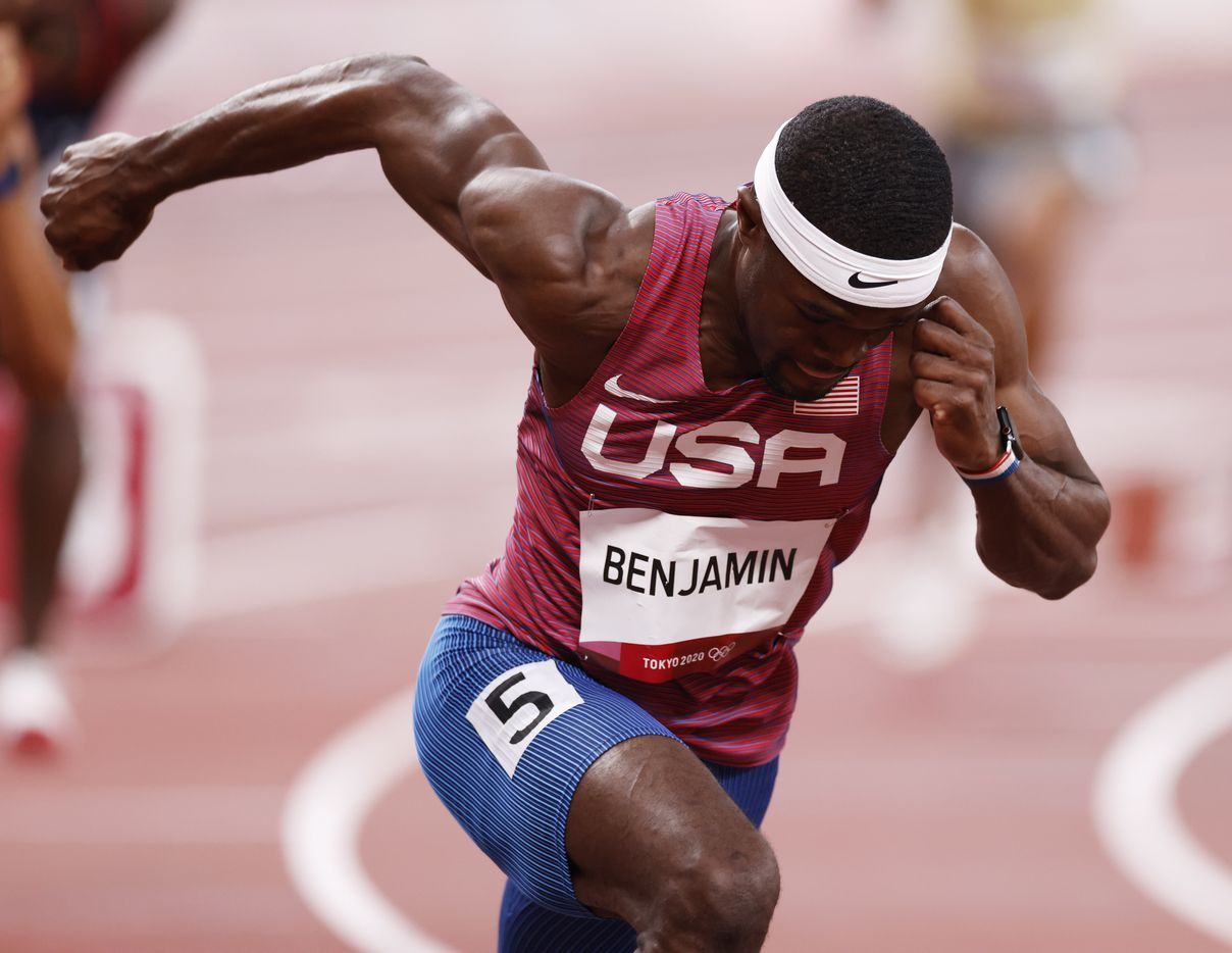 USA's Rai Benjamin runs in the 400 meter hurdles semifinal during the postponed 2020 Tokyo Olympics at Olympic Stadium, on Sunday, August 1, 2021, in Tokyo, Japan. Benjamin finished with a time of 47.37 seconds to advance to the final. (Vernon Bryant/The Dallas Morning News)