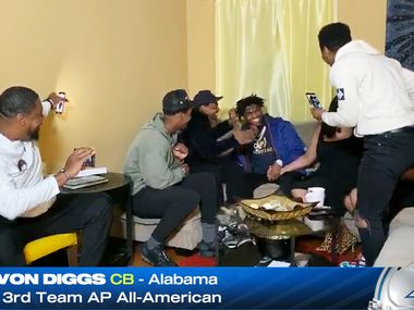 Screen capture of Alabama's Trevon Diggs, the Dallas Cowboys 51st pick in the second round of the NFL Draft with his family in Bowie, Maryland on Friday, April 24, 2020. Due to the coronavirus pandemic the NFL Draft was held virtually. (ESPN)
