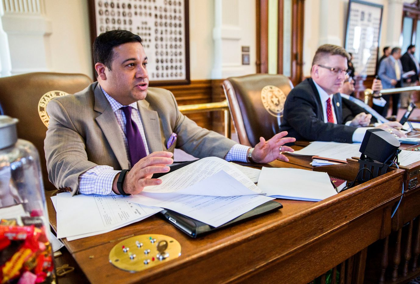 Rep. Jason Villalba, R-Dallas, shown at his desk in the state Capitol. Villalba's support for a pro-LGBT employment discrimination bill meant the measure passed committee this year for the first time. (Ashley Landis/The Dallas Morning News)