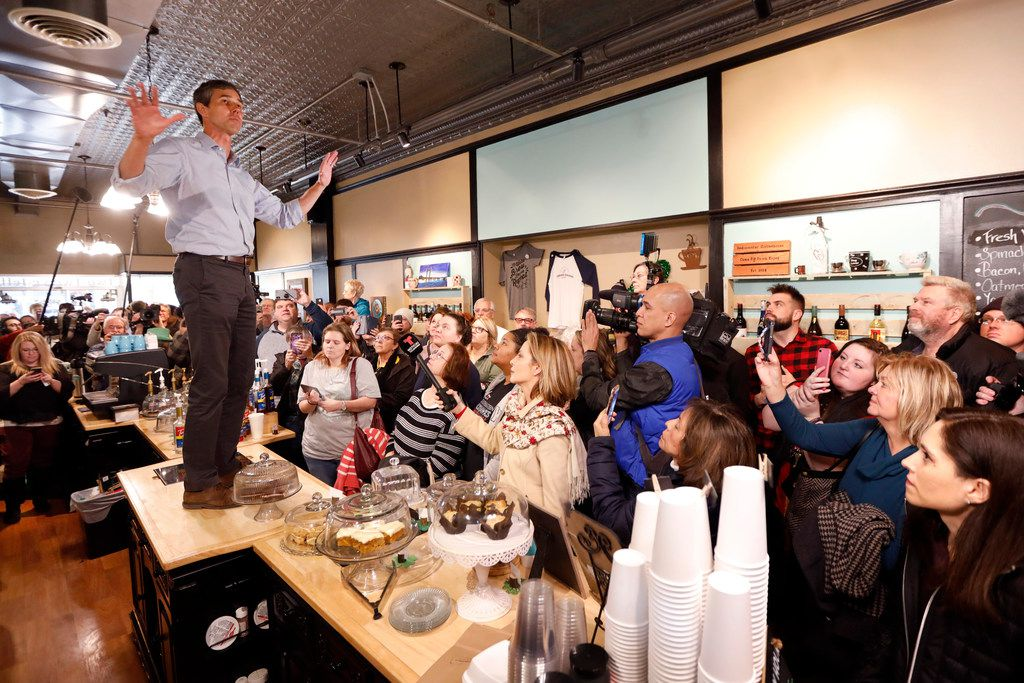 Former Texas congressman Beto O'Rourke speaks to local residents during a meet and greet at the Beancounter Coffeehouse & Drinkery on March 14, 2019, in Burlington, Iowa. O'Rourke announced Thursday that he'll seek the 2020 Democratic presidential nomination.