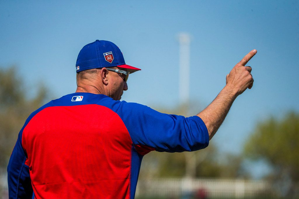 Texas Rangers manager Jeff Banister motions for a pitching change during the second inning of a spring training baseball game against the Los Angeles Dodgers on Monday, Feb. 26, 2018, in Surprise, Ariz. (Smiley N. Pool/The Dallas Morning News)
