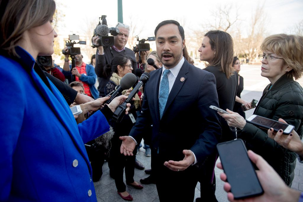 Rep. Joaquin Castro, D-Texas, spoke to reporters on March 14, 2019, after the Senate rejected President Donald Trump's emergency border declaration.