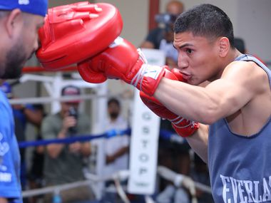 Vergil Ortiz Jr. of Grand Prairie at a media workout in advance of his fight Saturday against Antonio Orozco. The fight at the Texas Theatre of Grand Prairie is the first hometown pro fight for the up-and-coming Ortiz Jr.