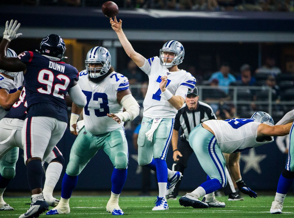 Dallas Cowboys quarterback Cooper Rush (7) throws a pass during the second quarter of an NFL game between the Dallas Cowboys and the Houston Texans on Saturday, August 24, 2019 at AT&T Stadium in Arlington. (Ashley Landis/The Dallas Morning News)
