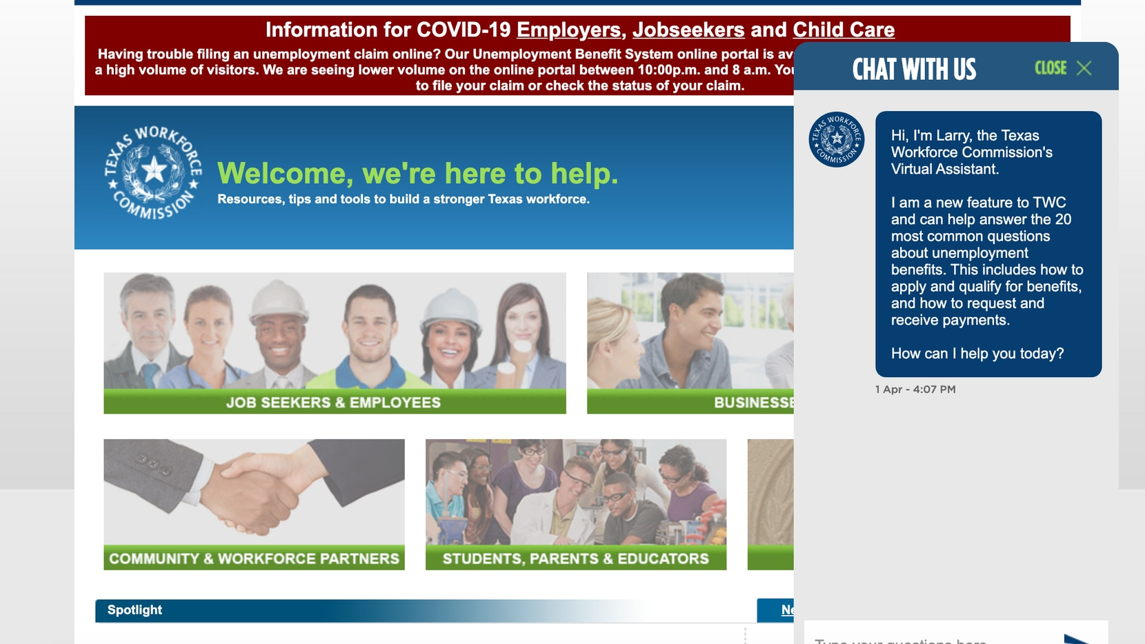 """The Texas Workforce Commission's new chat bot """"Larry"""" is accessible via the agency's website."""