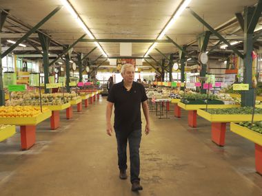 "Food writer and chef Adán Medrano shops at Houston's Airline Farmers Market in the opening scene of the food documentary ""Truly Texas Mexican."""
