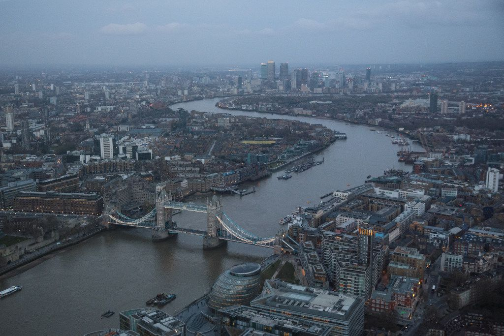 LONDON, ENGLAND - MARCH 28: The London skyline is seen from the Shard, the tallest building in the European Union, as the sun sets on March 28, 2017 in London, England. British Prime Minister Theresa May is set to trigger Article 50  tomorrow, beginning the formal process of leaving the European Union. (Photo by Jack Taylor/Getty Images)