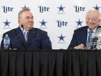 Dallas Cowboys owner and general manager Jerry Jones smiles as he tells a story about the interview process as newly hired Dallas Cowboys head coach Mike McCarthy looks on during a press conference in the Ford Center at The Star in Frisco, on Wednesday, January 8, 2020.
