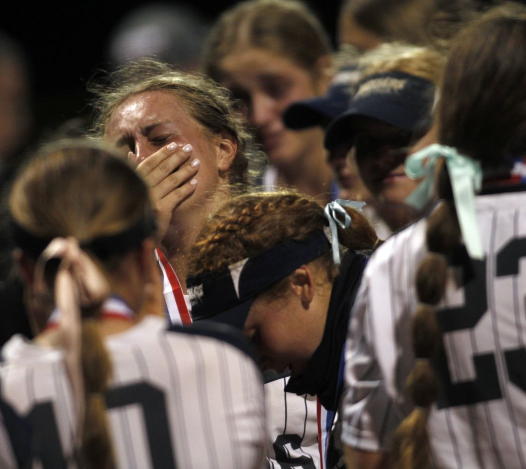 Flower Mound players feel the pain of their 2-0 loss to Deer Park. The two teams played their UIL 6A state softball semifinal game at Leander Glenn High School in Leander on June 4, 2021. (Steve Hamm/ Special Contributor)