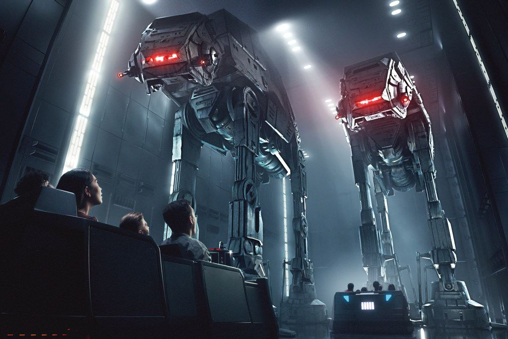 This rendering released by Disney and Lucasfilm shows people on the planned Star Wars: Rise of the Resistance attraction, part of Star Wars: Galaxy's Edge.