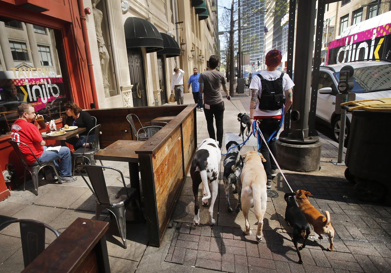 With more people living in downtown Dallas, dog walkers Matt Ross (left) and Michele Roth of Dog Fit Dallas tend a lot of leashes, Wednesday, March 25, 2015.