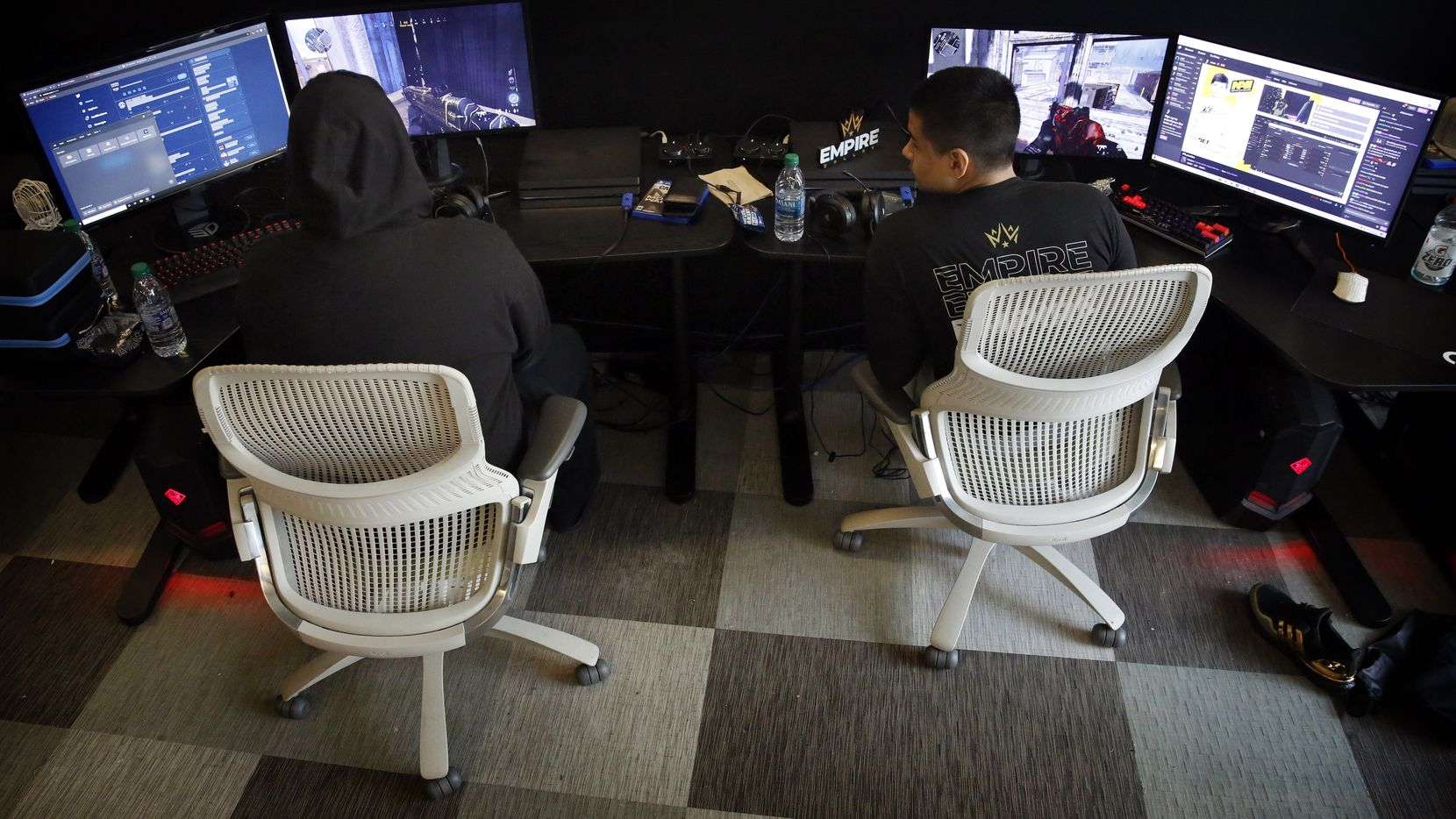 "Dallas Empire's Call of Duty League players Indervir ""iLLeY"" Dhaliwal (left) and Anthony ""Shotzzy"" Cuevas-Castro practice in their new Dallas offices in Victory Park, Wednesday, January 15, 2020. The team of 7 began practice this week in anticipation of the Jan. 24 season opener. (Tom Fox/The Dallas Morning News)"