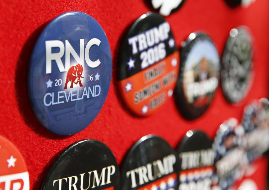Buttons beg to be bought in downtown Cleveland during this week's Republican National Convention.