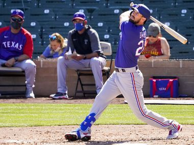 Texas Rangers outfielder David Dahl bats during the fourth inning of a spring training game against the Arizona Diamondbacks at Salt River Fields at Talking Stick on Saturday, March 6, 2021, in Scottsdale, Ariz.