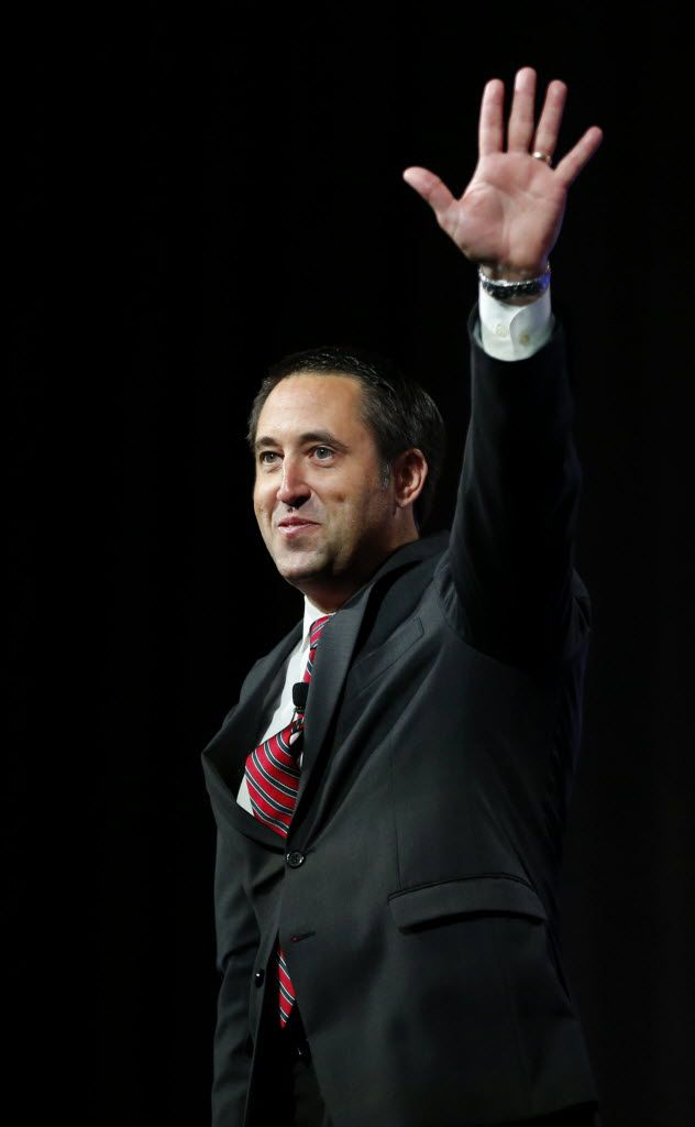 Comptroller Glenn Hegar waved to the crowd during the 2016 Texas Republican Convention at the Kay Bailey Hutchison Convention Center in Dallas in May.