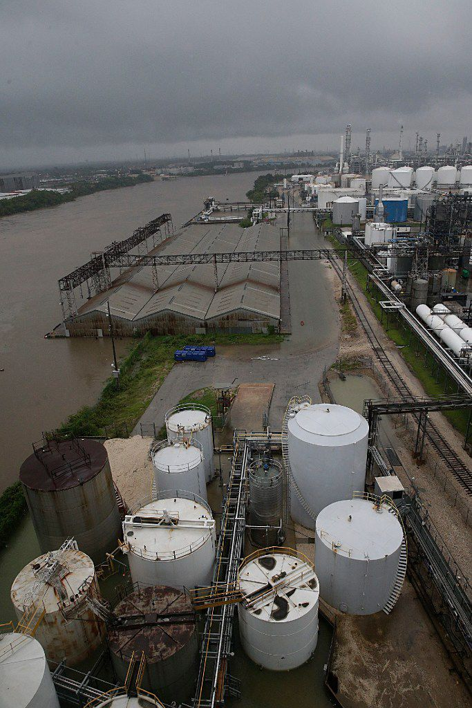 Floodwaters rise in the refinery section of the Houston Ship Channel.