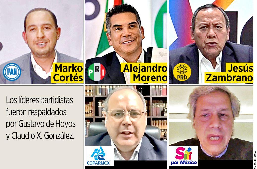 """""""Va por México"""", la nueva alianza de la oposición al partido Morena del presidente Andrés Manuel López Obrador."""