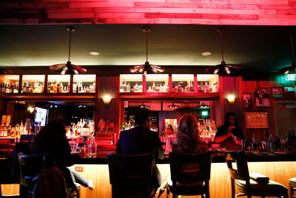 The bar at The Volstead Room speakeasy in Lewisville.