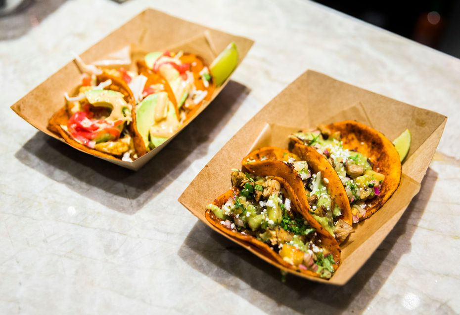 Tacos at Guy Fierie's Taco Joint at Texas Live are served three to an order. No, you can't mix and match flavors.
