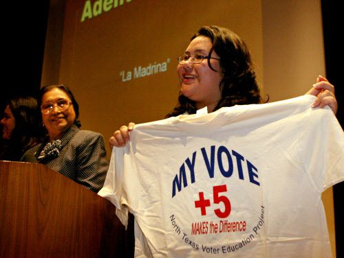 Greisa Martínez Rosas stands next to activist and attorney Adelfa Callejo during an effort announcing an initiative to pump up the election registration and voting among young people in 2006.