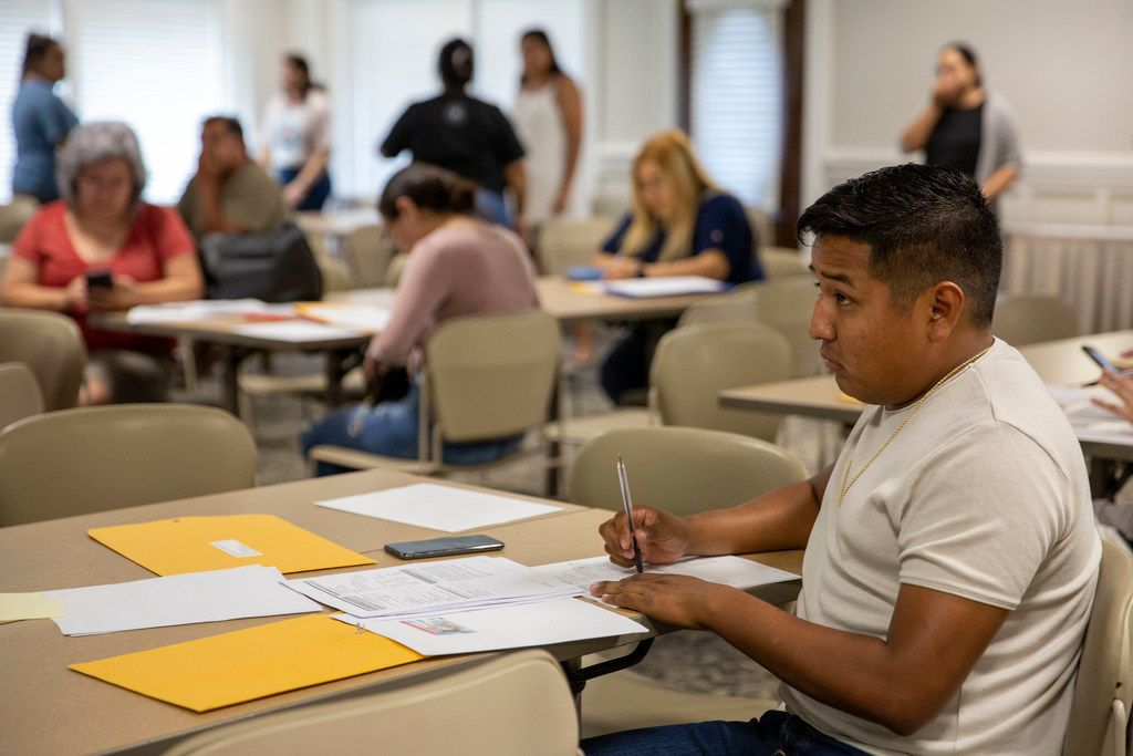 Omar Campos attends a DACA renewal workshop hosted by the North Texas Dream Team in Dallas, Texas on Wednesday, June 12, 2019.