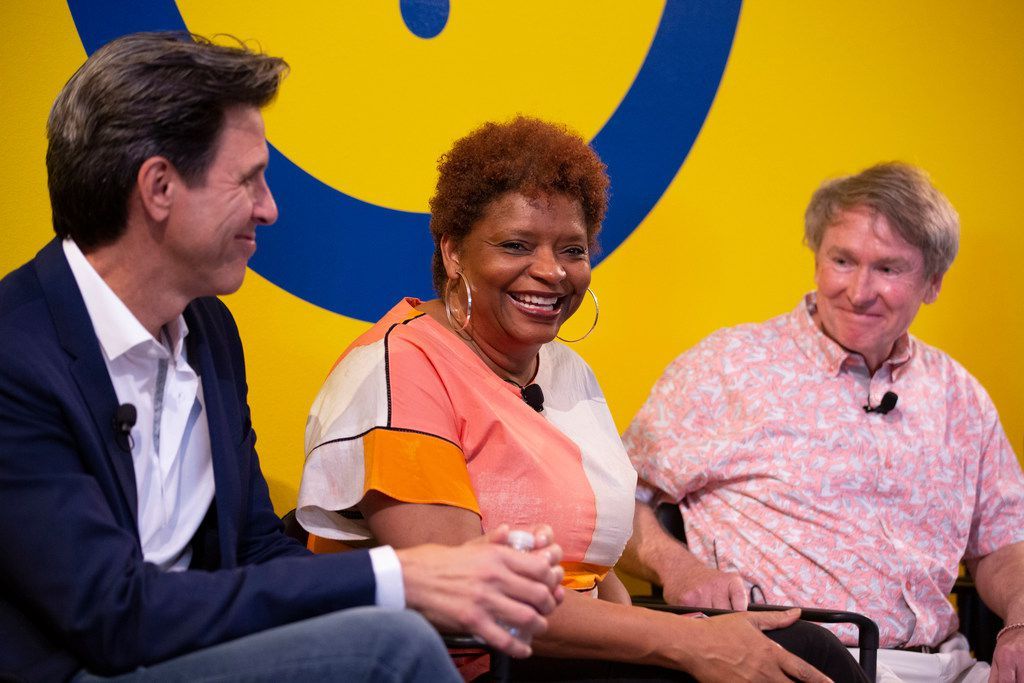Panelist Sanderia Faye (center) speaks at the The Dallas Festival of Books and Ideas event, The Literary City, at Interabang Books in Dallas on May 31, 2019. Other panelists were Oscar Casares (left) and Ben Fountain.