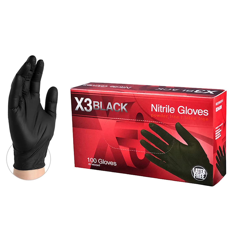AMMEX X3 Industrial Black Nitrile Gloves