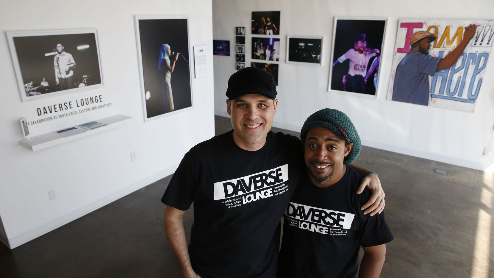 DaVerse Lounge's Will Richey (left) and Alejandro Perez Jr. in the art gallery of the Life in Deep Ellum building in Dallas on Tuesday.  (Vernon Bryant/The Dallas Morning News)