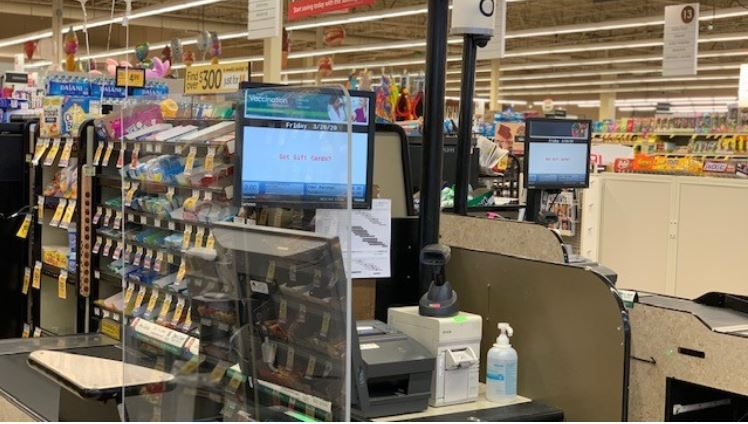 "Plexiglass ""sneeze guards"" are being added to Albertsons, Tom Thumb and Randalls stores in Texas to protect employees and customers during the coronavirus pandemic."