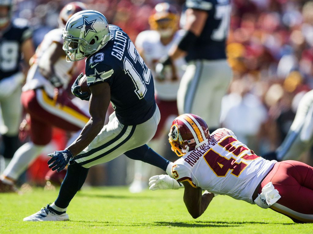 Dallas Cowboys wide receiver Michael Gallup (13) outruns Washington Redskins cornerback Dominique Rodgers-Cromartie (45) during the third quarter of an NFL game between the Dallas Cowboys and the Washington Redskins on Sunday, September 15, 2019 at FedExField in Landover, Maryland.