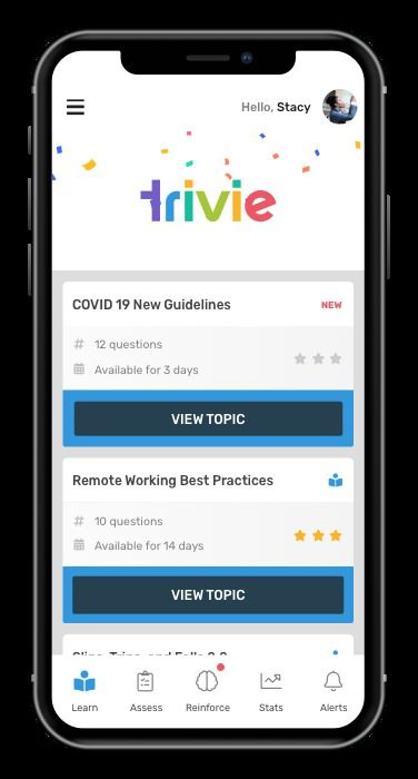 Trivie is a workplace training app which offers games for workers to play while learning information.