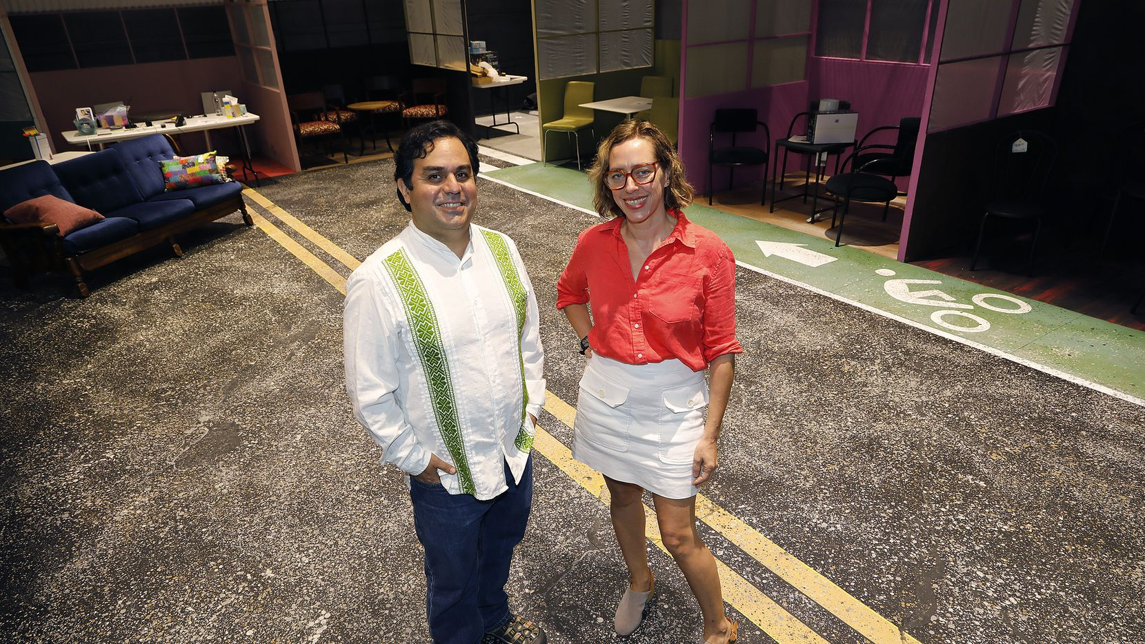 "Executive artistic directors David Lozano (Cara Mia Theatre), left, and Sara Cardona (Teatro Dallas) on the set of Cara Mia's ""Your Healing is Killing Me,"" which will inaugurate the new black box performance space at the Latino Cultural Center."