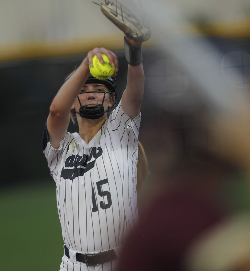 Flower Mound pitcher Landrie Harris (15) prepares to deliver a pitch to a Deer Park batter during the top of the 4th inning of play. The two teams played their UIL 6A state softball semifinal game at Leander Glenn High School in Leander on June 4, 2021. (Steve Hamm/ Special Contributor)