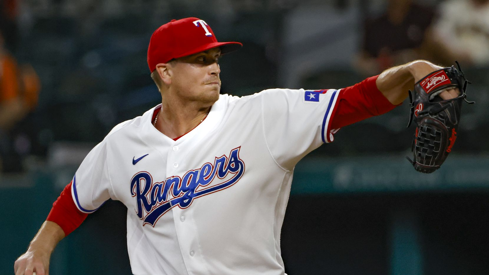 Texas Rangers starting pitcher Kyle Gibson (44) pitches during the first inning at Globe Life Field in Arlington, Texas, in Dallas on Wednesday, June 9, 2021.