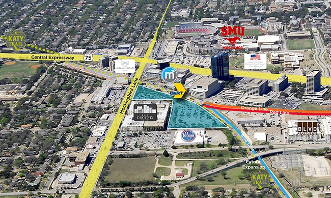 The DART parking lots up for grabs — shown in blue — are next door to the popular Mockingbird Station mixed-use project.