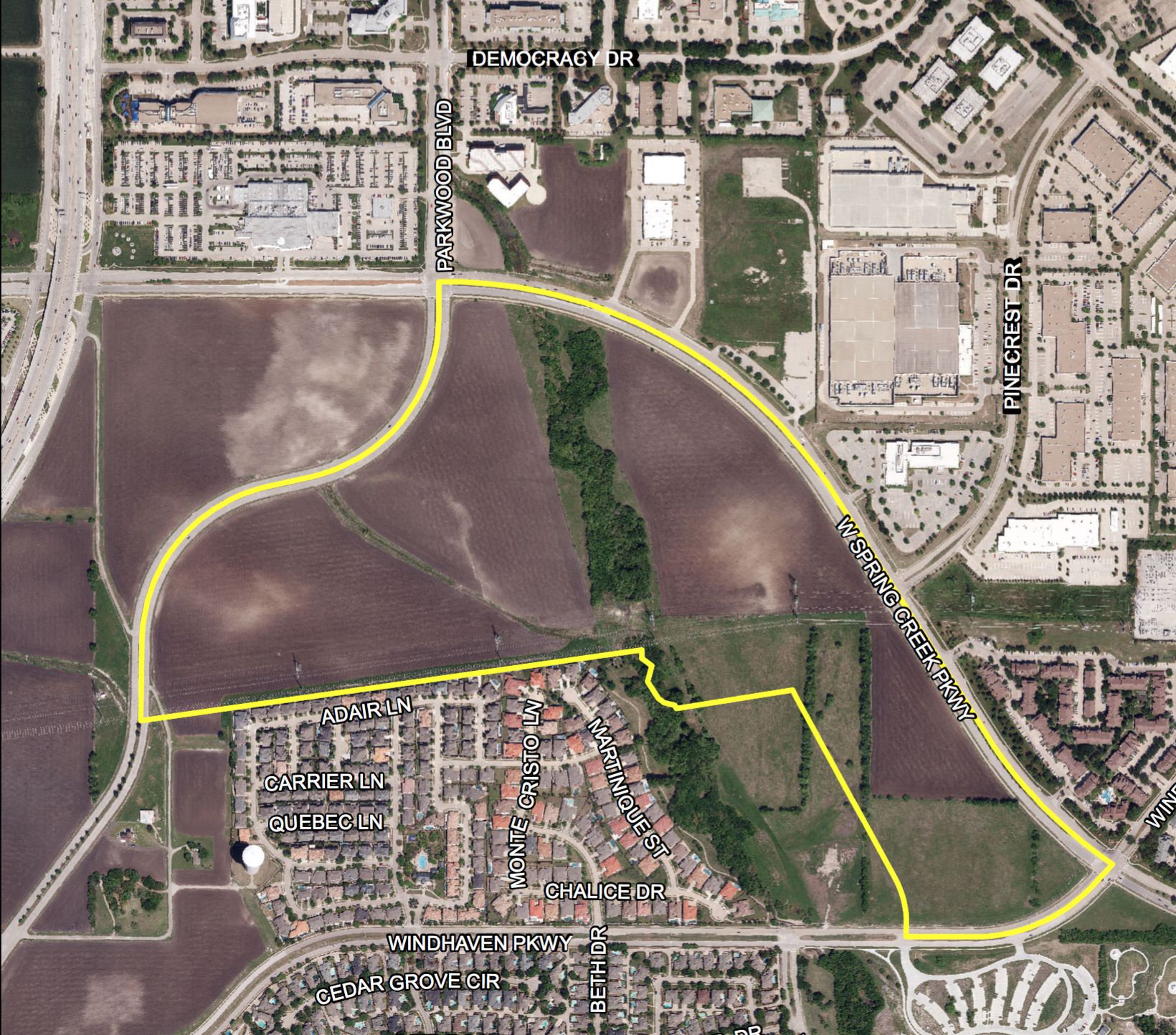 The Haggard development site is along Spring Creek Parkway just east of the Dallas North Tollway.
