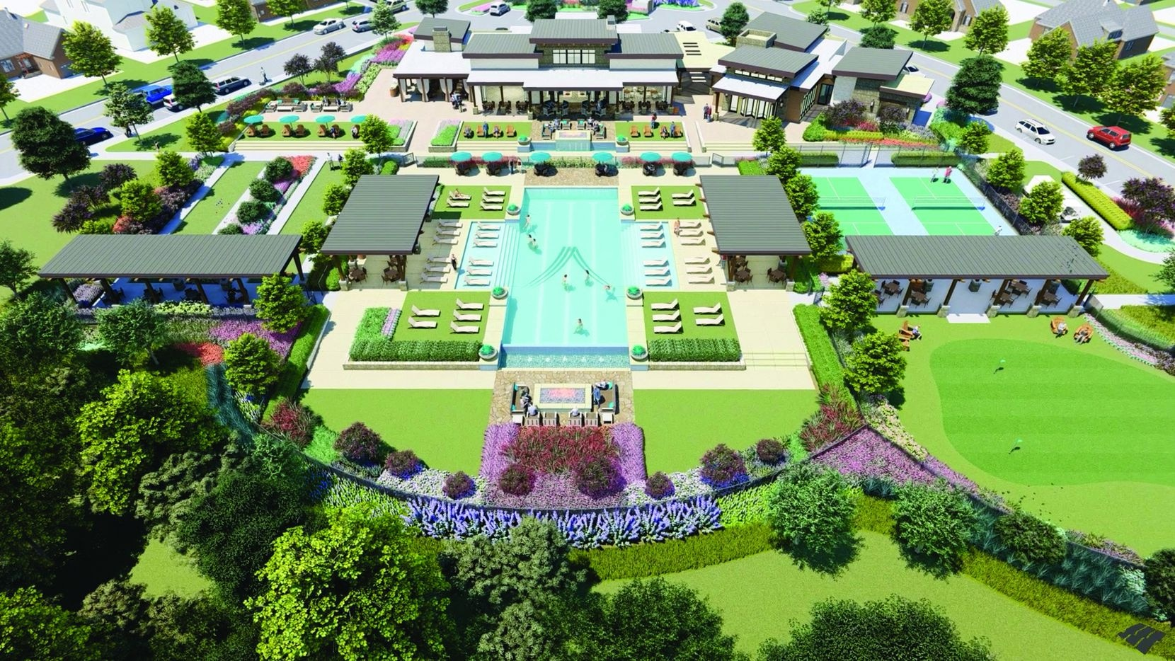 This is a rendering of the Magnolia Amenity Center, the heart of the Elements at Viridian community.