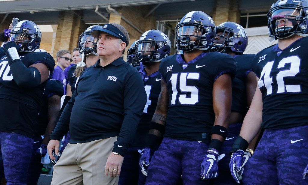 TCU head coach Gary Patterson is pictured before the Baylor University Bears vs. the TCU Horned Frogs NCAA college football game at Amon G. Carter Stadium in Fort Worth, Texas on Friday, November 24, 2017. (Louis DeLuca/The Dallas Morning News)