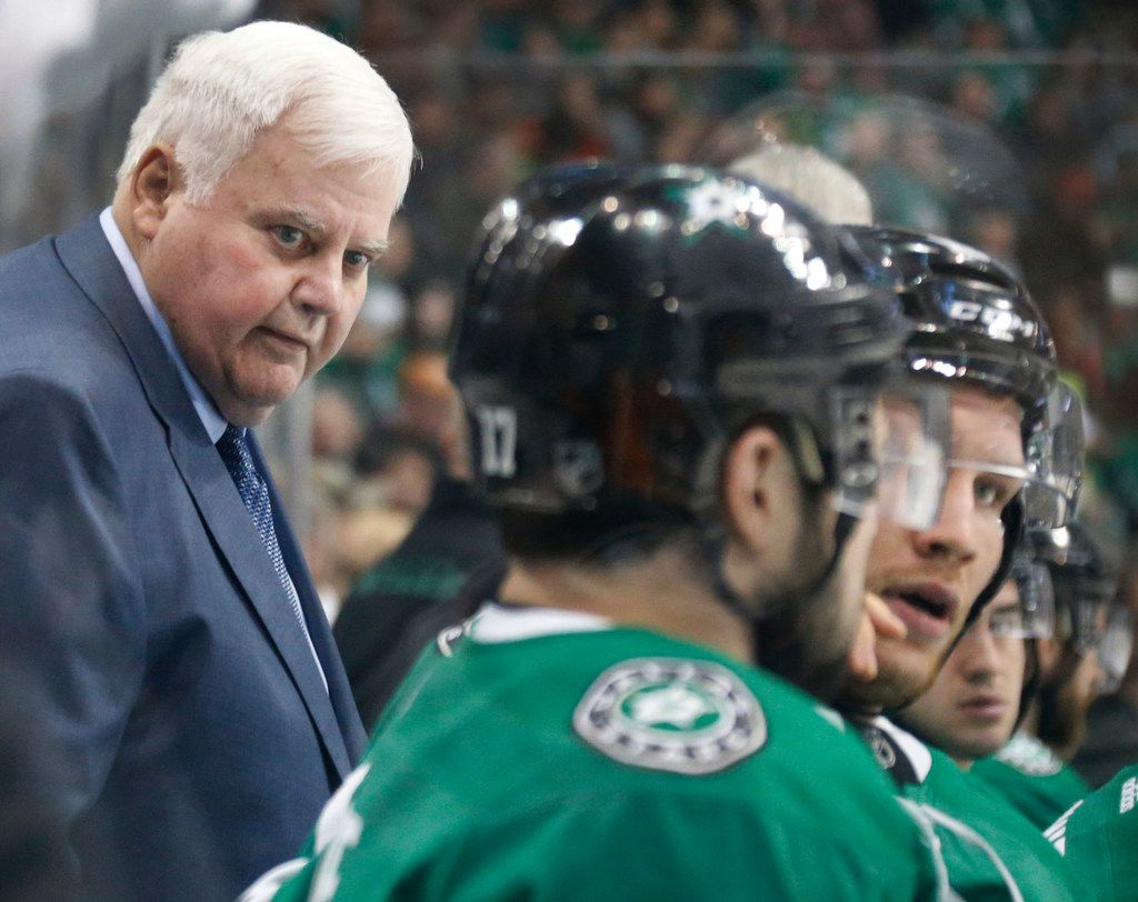 Dallas head coach Ken Hitchcock is pictured during the first period during the Anaheim Ducks vs. the Dallas Stars NHL hockey game at the American Airlines Center in Dallas on Friday, March 9, 2018. (Louis DeLuca/The Dallas Morning News)