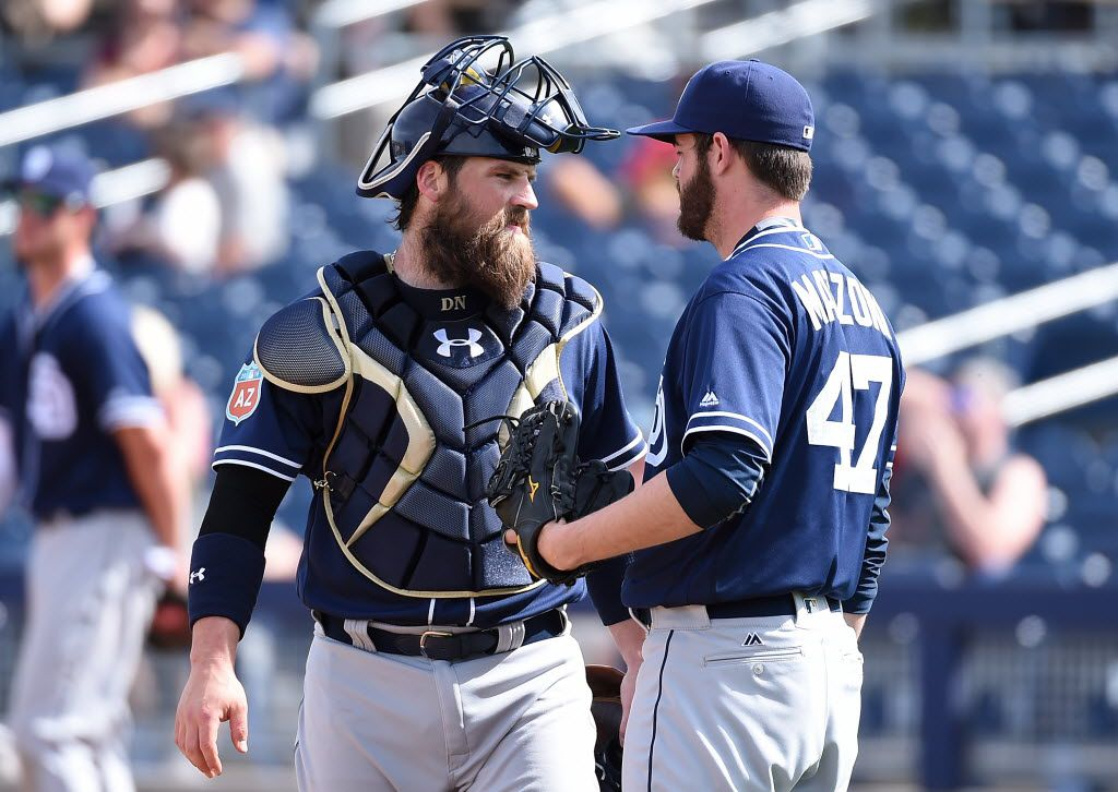 PEORIA, AZ - MARCH 02:  Derek Norris #3 of the San Diego Padres talks to his pitcher Cory Mazzoni #47 prior to the start of the fourth inning against the Seattle Mariners at Peoria Stadium on March 2, 2016 in Peoria, Arizona. Mariners won 7-0.  (Photo by Norm Hall/Getty Images)