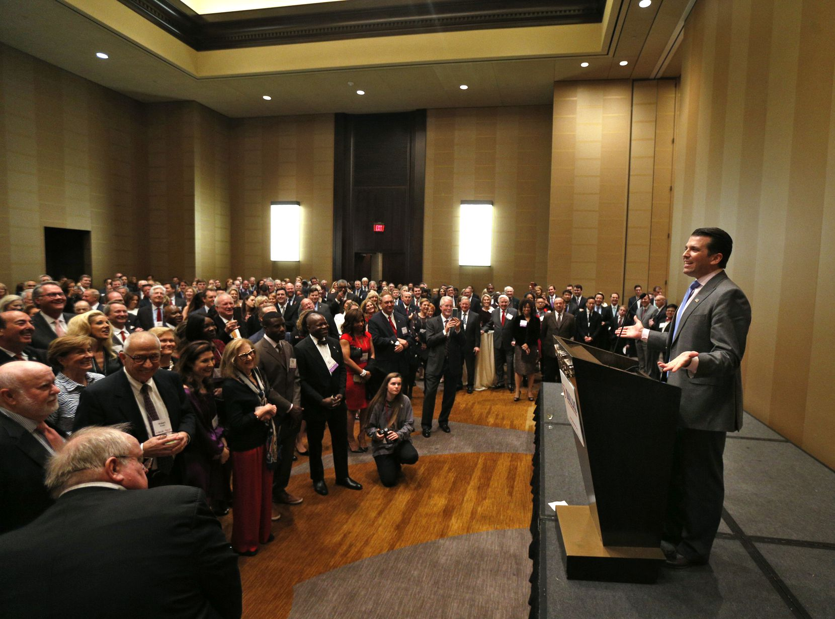In March 2017, Donald Trump Jr. greeted donors at a VIP reception before the Dallas County Republican Party's Reagan Day Dinner where he gave a keynote address, at the Omni Dallas Hotel in Dallas.