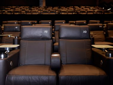 The luxury reclining seats inside one of the theaters at the Cinépolis theater in Victory Park Dallas on June 29.