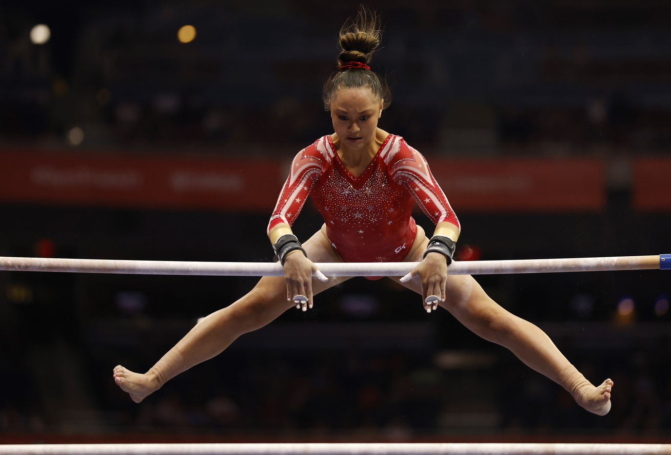Emma Malabuyo competes on the uneven bars during day 2 of the women's 2021 U.S. Olympic Trials at The Dome at America's Center on Saturday, June 27, 2021 in St Louis, Missouri.(Vernon Bryant/The Dallas Morning News)