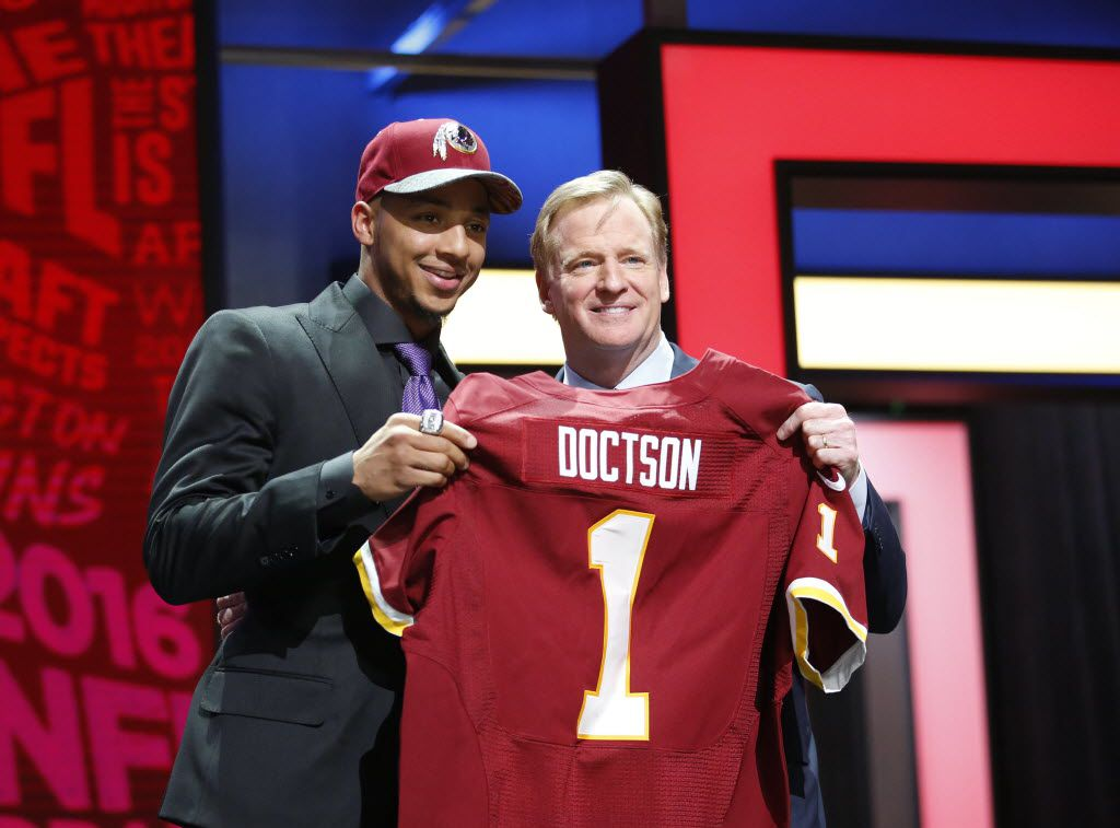 Apr 28, 2016; Chicago, IL, USA; Josh Doctson (TCU) with NFL commissioner Roger Goodell after being selected by the Washington Redskins as the number twenty-two overall pick in the first round of the 2016 NFL Draft at Auditorium Theatre. Mandatory Credit: Kamil Krzaczynski-USA TODAY Sports