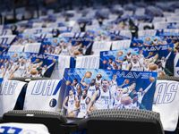 The seats before the Dallas Mavericks home opener against the Houston Rockets on Tuesday, Oct. 26, 2021, at the America Airlines Center in Dallas. (Juan Figueroa/The Dallas Morning News)