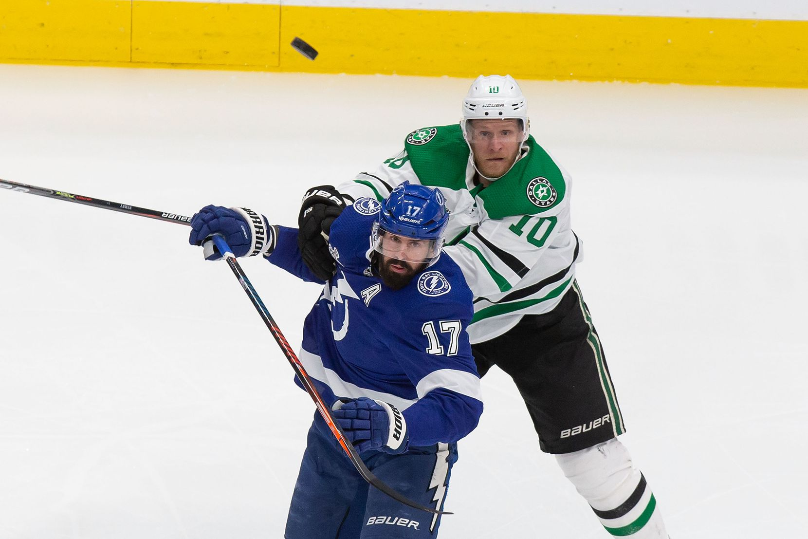 Corey Perry (10) of the Dallas Stars battles against Alex Killorn (17) of the Tampa Bay Lightning during Game Two of the Stanley Cup Final at Rogers Place in Edmonton, Alberta, Canada on Monday, September 21, 2020. (Codie McLachlan/Special Contributor)