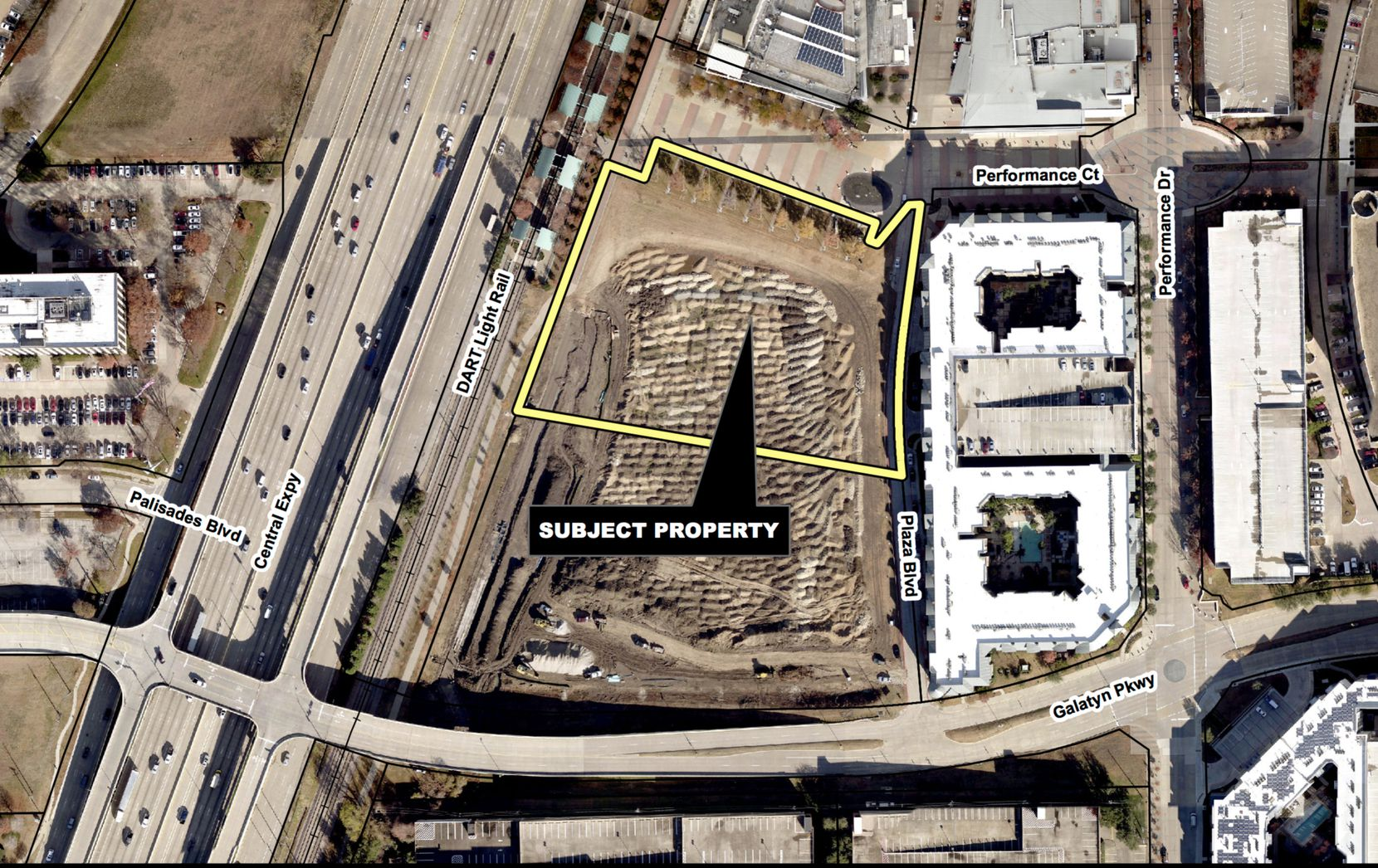 The more than 3.6-acre building site is just east of U.S. 75 and DART's rail station.