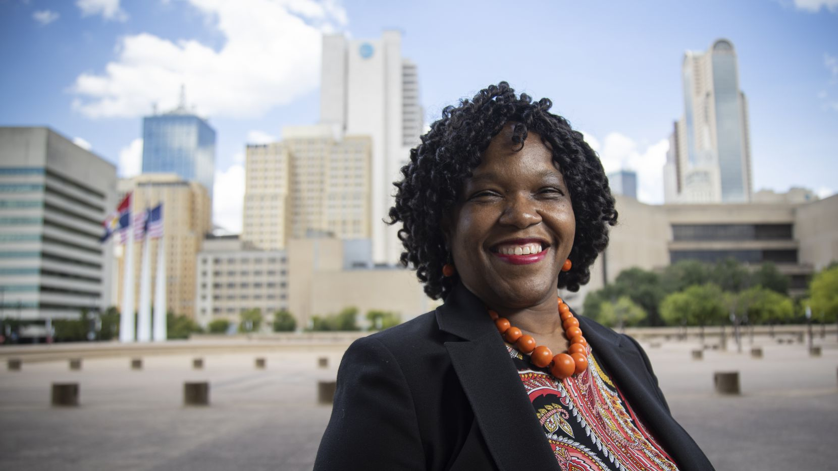 Tonya McClary, Dallas' Police Oversight Monitor, poses for a photo outside of City Hall on July 24, 2020 at City Hall in Dallas. (Juan Figueroa/ The Dallas Morning News)