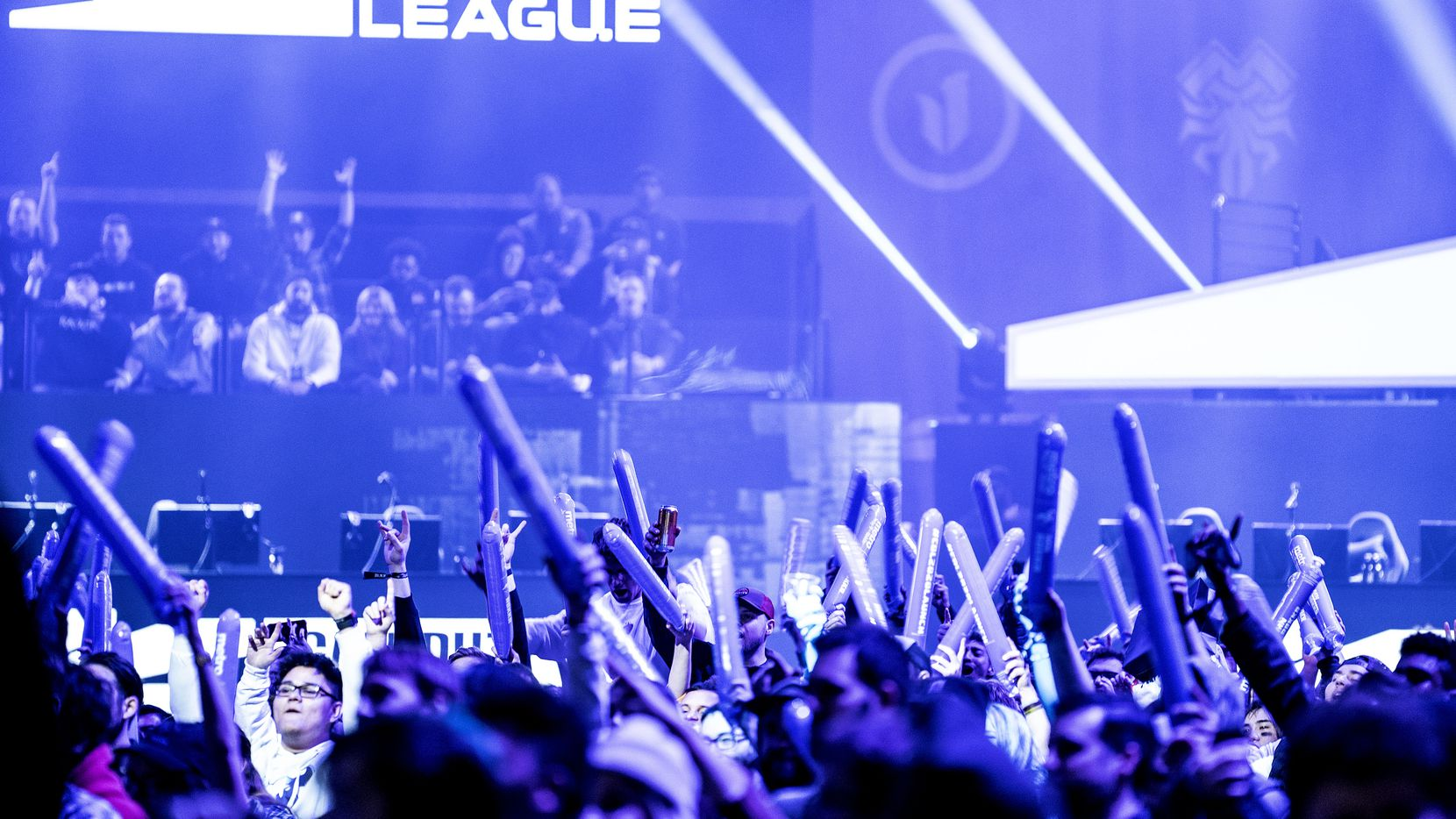 Fans cheer as Dallas Empire competes against Chicago Huntsmen in the Call of Duty League Launch Weekend at the Armory in Minneapolis on Jan. 24, 2020.
